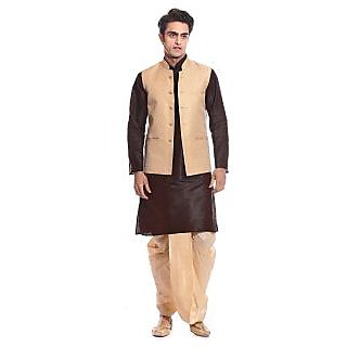 Tag 7 Brown Kurta Golden Dhoti With Jacket