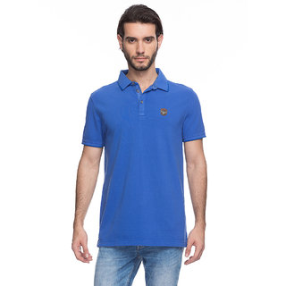 Spykar Mens Royal Blue Slim Fit T-Shirt