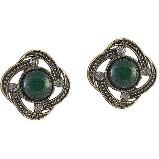 Urthn Alloy Green Floral Stud Earrings - 1306508