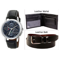 Combo Of Jack Klein Stylish Graphic Watch And Leather Belt With Leather Wallet