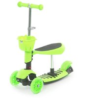 The Flyers Bay 3 In 1 Sit Or Kick  Height Adjustable Scooter For Kids TFB-3in1Green