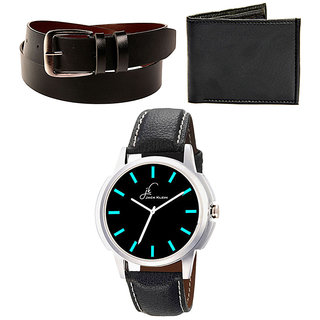 Combo of Jack Klein Stylish Black Analog Graphic Watch And  Belt With  Wallet