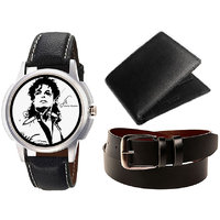 Combo Of Jack Klein Stylish Black Leather Strap Analog Graphic Watch And Leather Belt With Leather Wallet - 91494749