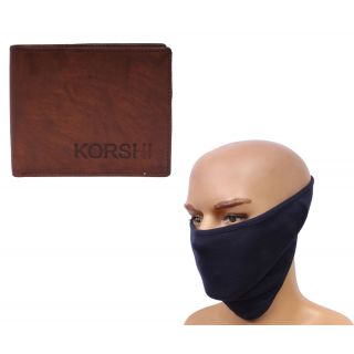 sushito Charming Brown Wallet With Ridding Face Mask JSMFHWT0494-JSMFHFM0526
