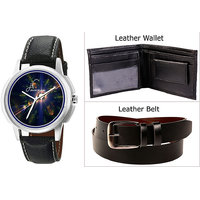 Combo Of Jack Klein Stylish Black Leather Strap Analog Graphic Watch And Leather Belt With Leather Wallet