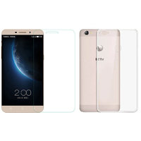 IZU Pro Tempered Glass With Great Silicon Back Cover For LeTV Le 1s With Free 3.5 AUX Cable And 2.0 Micro SD-USB Card Reader