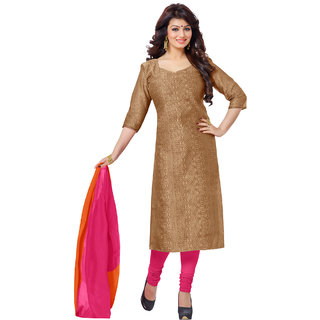 Sareemall Brown Chanderi Printed Salwar Suit Dress Material