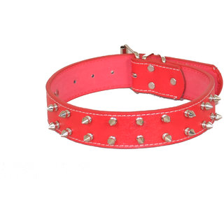 PET CLUB51 HIGH QUALITY IMPORTED -COLLAR WITH DOUBLE SPIKE-MEDIUM -RED