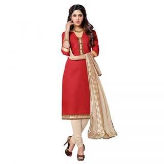 Sareemall Red Jacquard Block Print Salwar Suit Dress Material