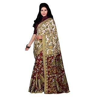 Saree Mall Multi Fancy Silk Printed Saree with Unstitched Blouse VND5002
