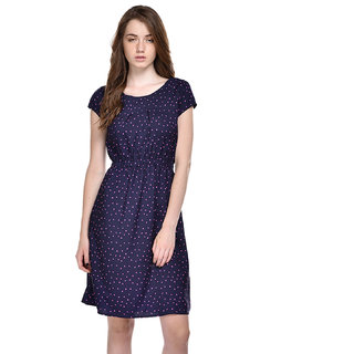 Ruhaans Blue & Pink Dotted A Line Dress For Women