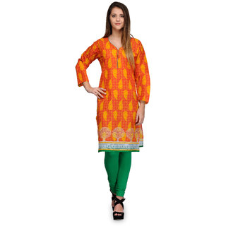 Prafful Orange Cotton Blend Paisley Printed Straight Kurti (GS101216)