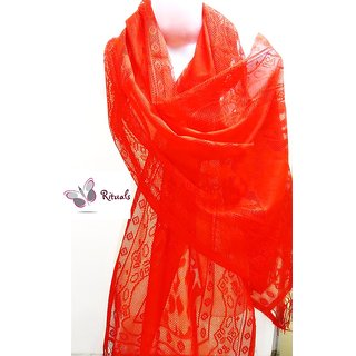 Fashion Stylish Net Stole-   Red