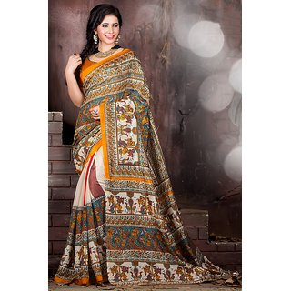 Saree Mall Multi Fancy Silk Printed Saree with Unstitched Blouse VND5008