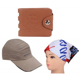 sushito Fancy Brown Wallet Combo Headwrap  Summer Cap JSMFHWT0432-JSMFHCP1576
