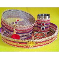KARVA CHAUTH SPECIAL  Set Of 3 - Decorated Pooja Thali, Decorated Karva Pot, Decorated Pooja Channi - Red Velvet