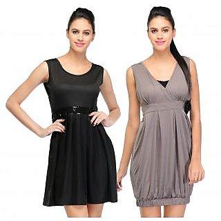 Klick2Style Classy Dress Combo Cmb2Drs-1029Blk-1028Gry