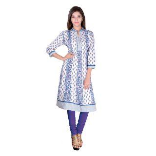 White,Blue Cotton Straight Kurti For Women