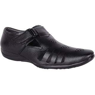 Shoeadda Mens Black Velcro Sandals