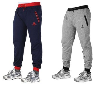 Mens Cotton Track Pants with Zipper Pockets Pack OF 2  Navy Blue Red Melange Grey Black