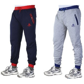 Mens Cotton Track Pants with Zipper Pockets Pack OF 2 (Blue  Grey)