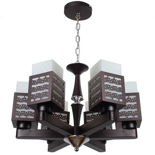 LeArc Designer Lighting Contemporary Glass Metal Wood Chandelier CH309