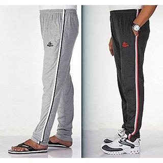 Mens Cotton Track Pant With Dual Colour Side Stripes Pack Of 2  Melange Grey    Melange Black