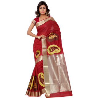 Swaron Maroon and White Banarasi Viscose Cotton Silk Self Print Party Wear Saree 106SDM2104RD180