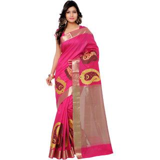 Swaron Pink and Cream Banarasi Viscose Cotton Silk Self Print Party Wear Saree 106SDM2104RN181