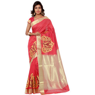 Swaron Peach and Yellow Banarasi Viscose Cotton Silk Self Print Party Wear Saree 106SDM2105RD183