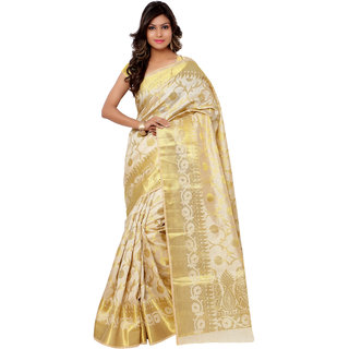 Swaron Cream and Golden Kanjivaram Raw Silk and Chanderi Silk Self Print  Party Wear Saree 106SPT1001CM173