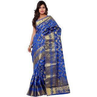 Swaron Blue and Golden Kanjivaram Raw Silk and Chanderi Silk Self Print  Party Wear Saree 106SPT1001RB175