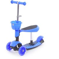 The Flyers Bay 3 In 1 Sit Or Kick  Height Adjustable Scooter For Kids TFB-3in1Blue