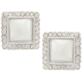 Urthn Alloy White Contemporary Stud Earrings - 1307109