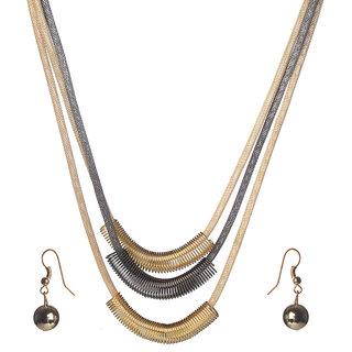 Urthn Alloy Golden Contemporary Necklace Set -1106117
