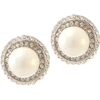 Urthn Alloy White Contemporary Stud Earrings - 1307125