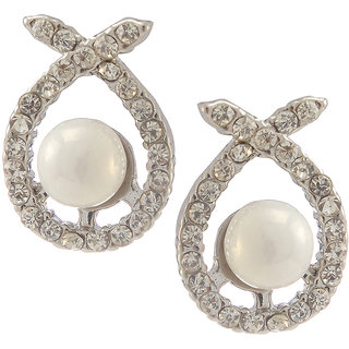 Urthn Alloy White Contemporary Stud Earrings - 1307141