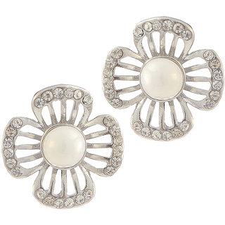 Urthn Alloy White Floral Stud Earrings - 1307157