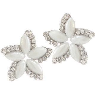 Urthn Alloy White Floral Stud Earrings - 1307173