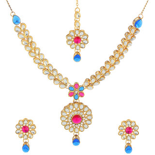 Kriaa Alloy Pink  Blue Ethnic Necklace Set - 1106204C