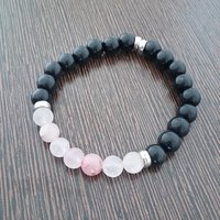 Black Agate With Rose Quartz Bracelet