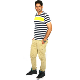 UNITED COLORS OF BENETTON STRIPED ROUND NECK T-SHIRT (WHITE/YELLOW)