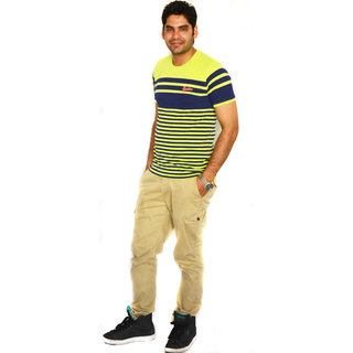 UNITED COLORS OF BENETTON STRIPED ROUND NECK T-SHIRT (YELLOW/BLUE)