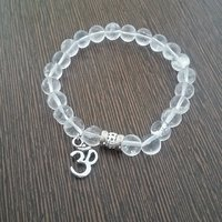 Genuine Reiki Charged Clear Quartz Bracelet With Om Charm