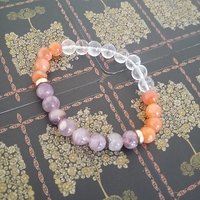 Amethyst, Carnelian And Clear Quartz Bracelet