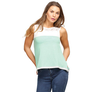 Campus Sutra Green Sleeveless Top For Women