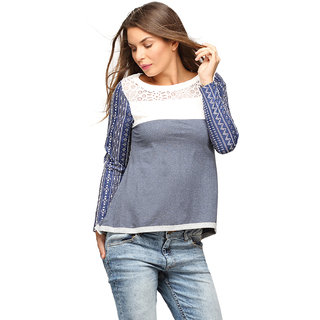 Campus Sutra Blue Full Sleeve Top For Women