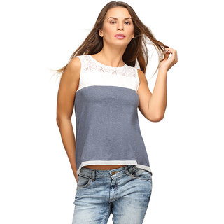 Campus Sutra Blue Sleeveless Top For Women