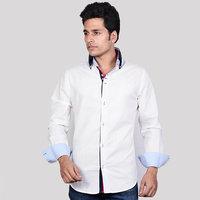 Dazzio Mens White Cotton Casual Shirt