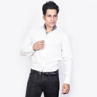 Dazzio Men's White Mendarin Collar Casual Shirt